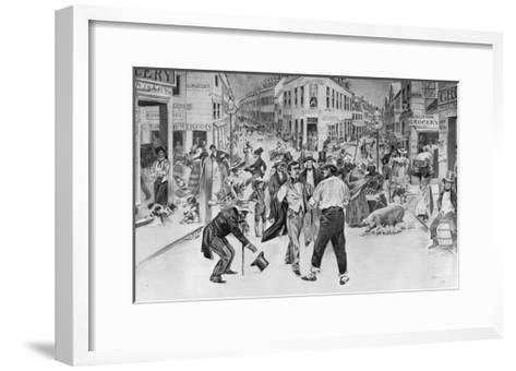 Print of an Encounter between a Swell and a Bowery Boy in the Five Points Neighborhood--Framed Art Print