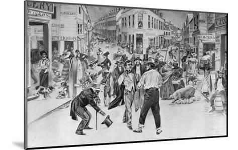 Print of an Encounter between a Swell and a Bowery Boy in the Five Points Neighborhood--Mounted Giclee Print