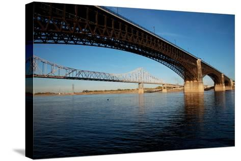 Eads Bridge on the Mississippi River, St. Louis, Missouri-Joseph Sohm-Stretched Canvas Print