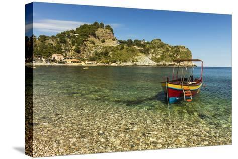 Excursion Boat Moored on Pretty Isola Bella Bay in This Popular Northeast Tourist Town-Rob Francis-Stretched Canvas Print