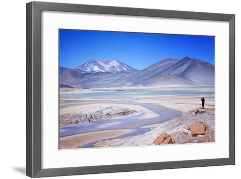 Man Standing on Rocks Looking over Miscanti Laguna, Turquoise Mineral Lake, San Pedro De Atacama-Kimberly Walker-Framed Art Print