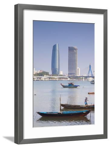 Song River and City Skyline, Da Nang, Vietnam, Indochina, Southeast Asia, Asia-Ian Trower-Framed Art Print