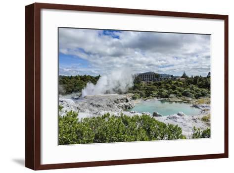 Geysirfield in the Te Puia Maori Cultural Center, Rotorura, North Island, New Zealand, Pacific-Michael Runkel-Framed Art Print