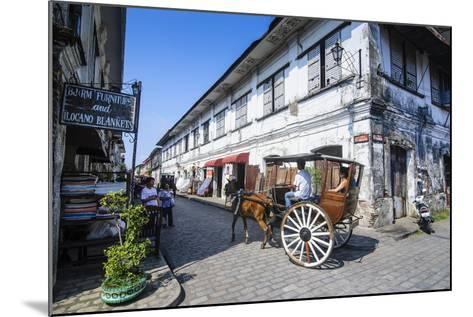 Horse Cart Riding Through the Spanish Colonial Architecture in Vigan, Northern Luzon, Philippines-Michael Runkel-Mounted Photographic Print