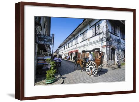 Horse Cart Riding Through the Spanish Colonial Architecture in Vigan, Northern Luzon, Philippines-Michael Runkel-Framed Art Print