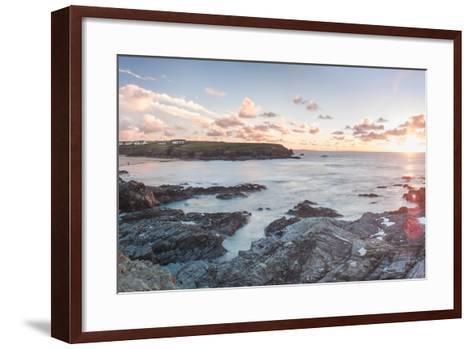 Rocky Coast at Treyarnon Bay at Sunset, Cornwall, England, United Kingdom, Europe-Matthew Williams-Ellis-Framed Art Print