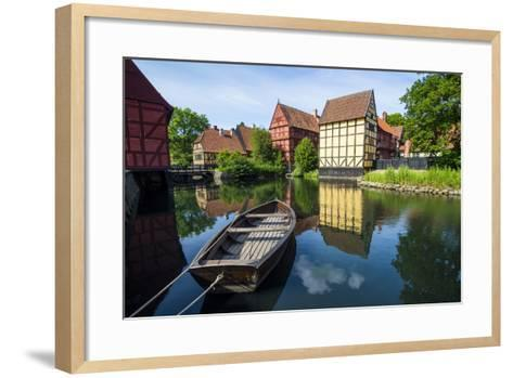 Little Boat in a Pond in the Old Town, Den Gamle By, Open Air Museum in Aarhus-Michael Runkel-Framed Art Print