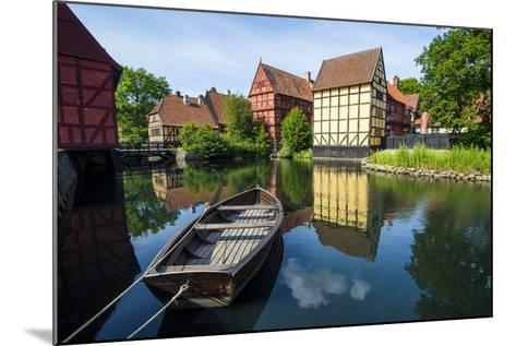 Little Boat in a Pond in the Old Town, Den Gamle By, Open Air Museum in Aarhus-Michael Runkel-Mounted Photographic Print