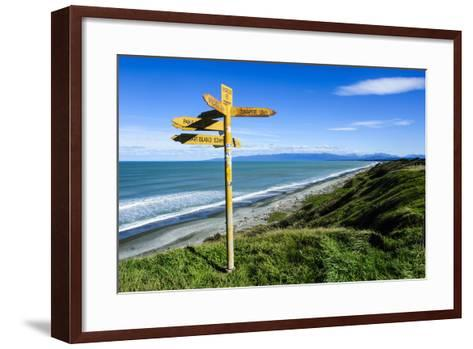 Signpost on Te Waewae Bay, Along the Road from Invercargill to Te Anau, South Island-Michael Runkel-Framed Art Print