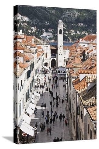 View Down Stradun, UNESCO World Heritage Site, Dubrovnik, Croatia, Europe-Jean Brooks-Stretched Canvas Print