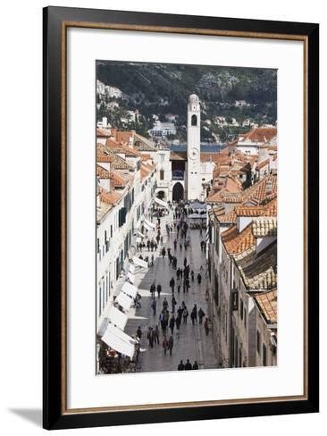 View Down Stradun, UNESCO World Heritage Site, Dubrovnik, Croatia, Europe-Jean Brooks-Framed Art Print