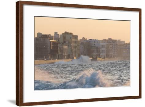 Buildings Along the Malecon in Soft Evening Sunlight with Large Waves Crashing Against the Sea Wall-Lee Frost-Framed Art Print