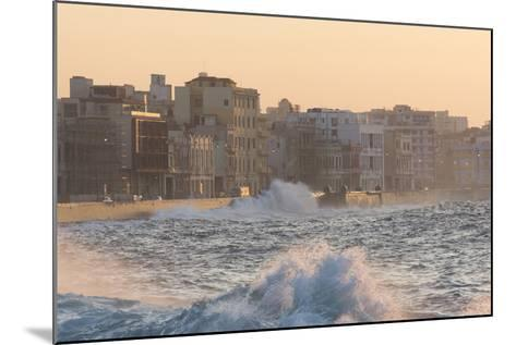 Buildings Along the Malecon in Soft Evening Sunlight with Large Waves Crashing Against the Sea Wall-Lee Frost-Mounted Photographic Print