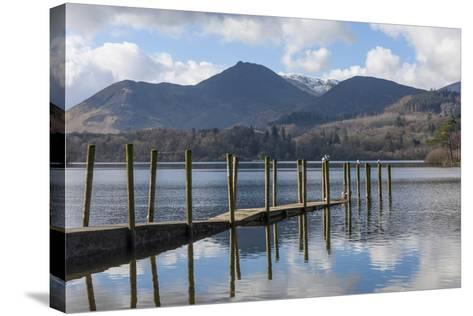 Lake Derwentwater, Barrow and Causey Pike, from the Boat Landings at Keswick-James Emmerson-Stretched Canvas Print