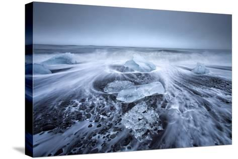 Jokulsa Beach on a Stormy Day-Lee Frost-Stretched Canvas Print