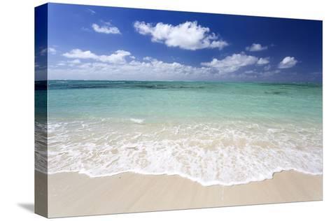 Idyllic Beach Scene with Blue Sky, Aquamarine Sea and Soft Sand, Ile Aux Cerfs-Lee Frost-Stretched Canvas Print