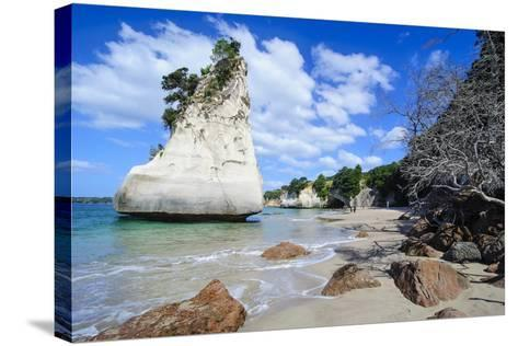 Giant Rock on the Sandy Beach of Cathedral Cove, Coromandel, North Island, New Zealand, Pacific-Michael Runkel-Stretched Canvas Print