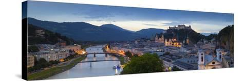 Hohensalzburg Fortress and Alt Stadt Illuminated at Dusk, Salzburg, Salzburger Land-Doug Pearson-Stretched Canvas Print