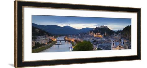 Hohensalzburg Fortress and Alt Stadt Illuminated at Dusk, Salzburg, Salzburger Land-Doug Pearson-Framed Art Print