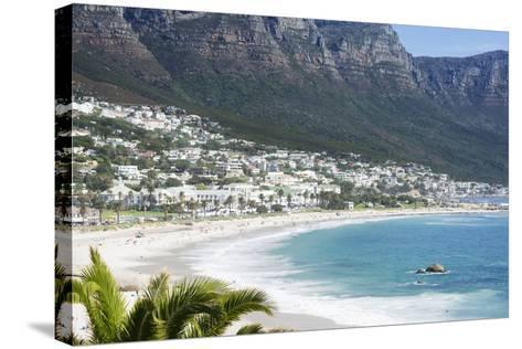 Overview of Clifton Beach with Homes and Mountains in the Bay, Cape Peninsula, Cape Town-Kimberly Walker-Stretched Canvas Print