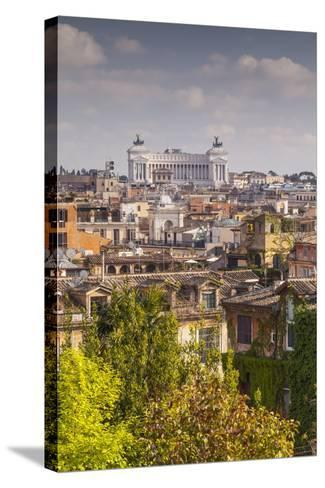 The Rooftops of Rome with Il Vittoriano-Julian Elliott-Stretched Canvas Print