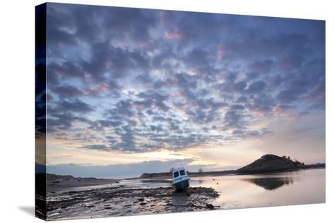 Church Hill and the Aln Estuary During a Stunning Winter Sunrise from the Beach at Low Tide-Lee Frost-Stretched Canvas Print