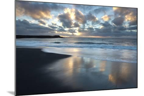 Looking Towards the North Atlantic at Sunrise from the Black Volcanic Sand Beach at Vik I Myrdal-Lee Frost-Mounted Photographic Print