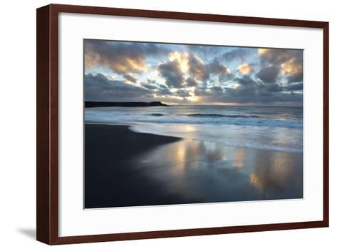 Looking Towards the North Atlantic at Sunrise from the Black Volcanic Sand Beach at Vik I Myrdal-Lee Frost-Framed Art Print