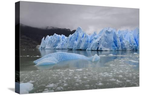 Lake-Level View of Blue Ice at the Glacier Face and Iceberg-Eleanor Scriven-Stretched Canvas Print