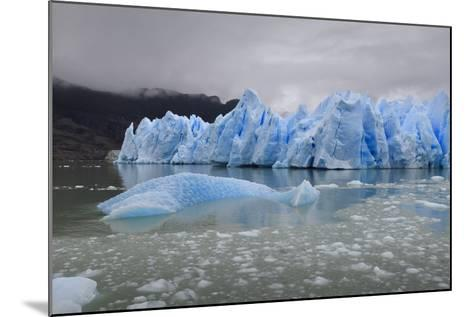 Lake-Level View of Blue Ice at the Glacier Face and Iceberg-Eleanor Scriven-Mounted Photographic Print