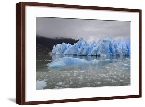Lake-Level View of Blue Ice at the Glacier Face and Iceberg-Eleanor Scriven-Framed Art Print