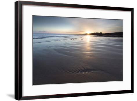 View over Embleton Beach at Sunrise Towards the Silhouetted Ruin of Dunstanburgh Castle-Lee Frost-Framed Art Print