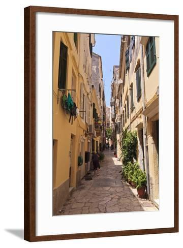 Narrow Street with Lady Sweeping, Old Town, Corfu Town-Eleanor Scriven-Framed Art Print