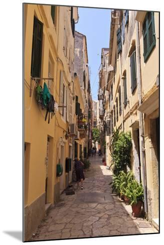 Narrow Street with Lady Sweeping, Old Town, Corfu Town-Eleanor Scriven-Mounted Photographic Print