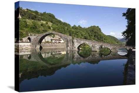 Medieval Bridge of Ponte Della Maddalena on the River Serchio, Borgo a Mozzano, Near Lucca-Stuart Black-Stretched Canvas Print