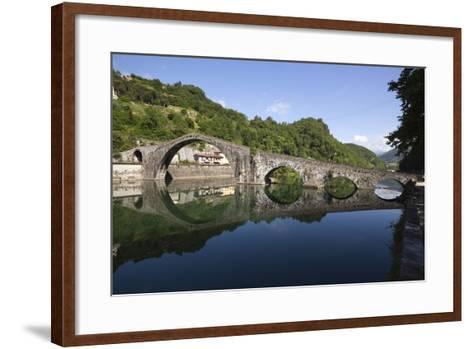 Medieval Bridge of Ponte Della Maddalena on the River Serchio, Borgo a Mozzano, Near Lucca-Stuart Black-Framed Art Print