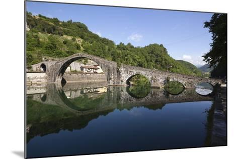 Medieval Bridge of Ponte Della Maddalena on the River Serchio, Borgo a Mozzano, Near Lucca-Stuart Black-Mounted Photographic Print
