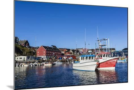 Commercial Fishing and Whaling Boats Line the Busy Inner Harbor in the Town of Ilulissat-Michael Nolan-Mounted Photographic Print