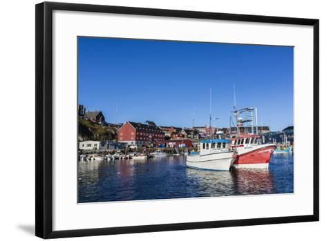 Commercial Fishing and Whaling Boats Line the Busy Inner Harbor in the Town of Ilulissat-Michael Nolan-Framed Art Print
