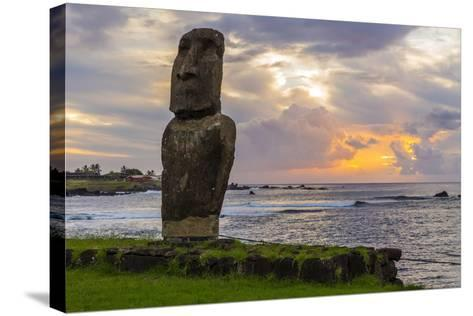 A Single Moai at Fisherman's Harbor in the Town of Hanga Roa-Michael Nolan-Stretched Canvas Print