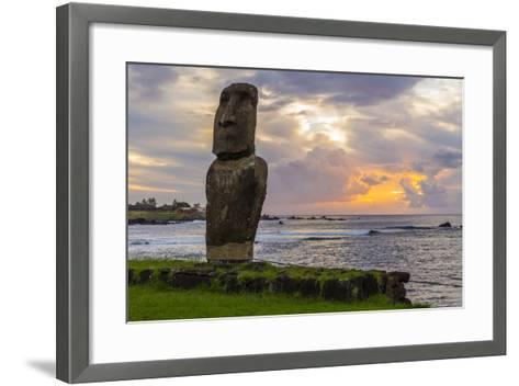 A Single Moai at Fisherman's Harbor in the Town of Hanga Roa-Michael Nolan-Framed Art Print