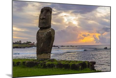 A Single Moai at Fisherman's Harbor in the Town of Hanga Roa-Michael Nolan-Mounted Photographic Print