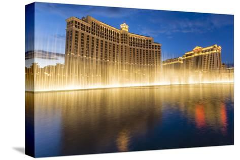 Bellagio and Caesars Palace Reflections at Dusk with Fountains, the Strip, Las Vegas, Nevada, Usa-Eleanor Scriven-Stretched Canvas Print