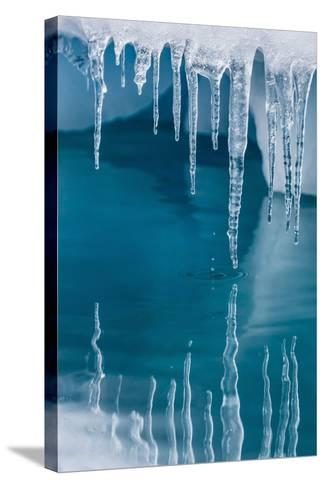 Icicles Mirrored in Calm Water from Ice Floating in the Neumayer Channel Near Wiencke Island-Michael Nolan-Stretched Canvas Print