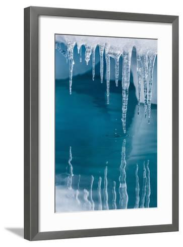 Icicles Mirrored in Calm Water from Ice Floating in the Neumayer Channel Near Wiencke Island-Michael Nolan-Framed Art Print