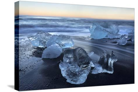 Jokulsa Beach at Sunrise, on the Edge of the Vatnajokull National Park, South Iceland-Lee Frost-Stretched Canvas Print