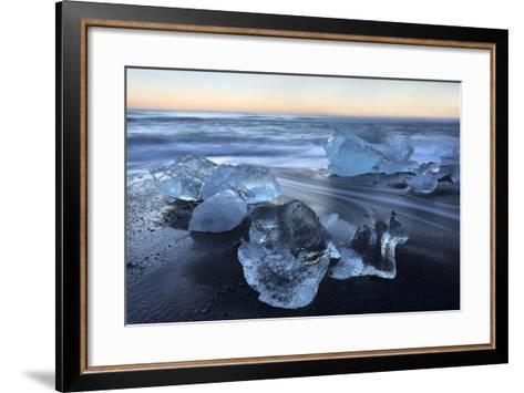 Jokulsa Beach at Sunrise, on the Edge of the Vatnajokull National Park, South Iceland-Lee Frost-Framed Art Print