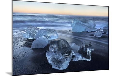 Jokulsa Beach at Sunrise, on the Edge of the Vatnajokull National Park, South Iceland-Lee Frost-Mounted Photographic Print
