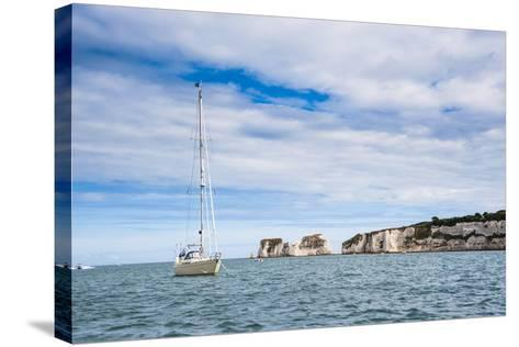 Sailing Boat at Old Harry Rocks, Between Swanage and Purbeck, Dorset, Jurassic Coast, England-Matthew Williams-Ellis-Stretched Canvas Print