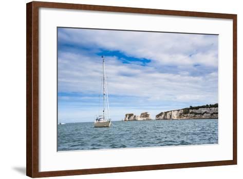 Sailing Boat at Old Harry Rocks, Between Swanage and Purbeck, Dorset, Jurassic Coast, England-Matthew Williams-Ellis-Framed Art Print